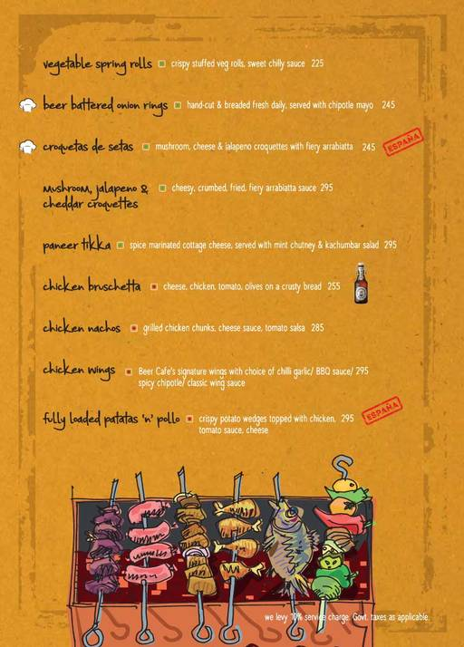 Menu 4 - The Beer Cafe, Connaught Place (CP), New Delhi