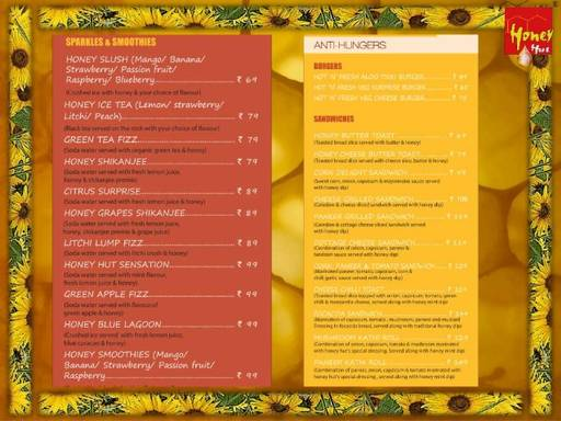 Menu 1 - Honey Hut the nature's cafe, Swarg Ashram, Rishikesh