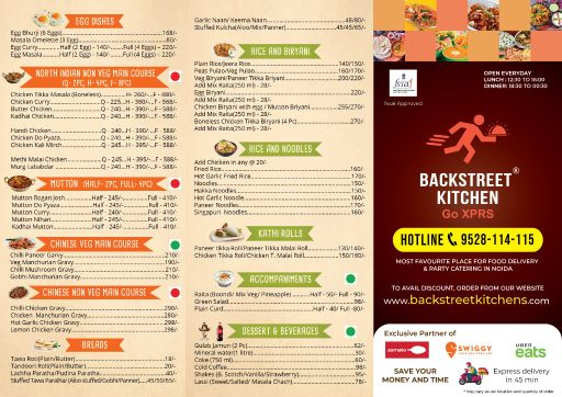 Food Menu 2 of Backstreet Kitchen, Sector 104, Noida