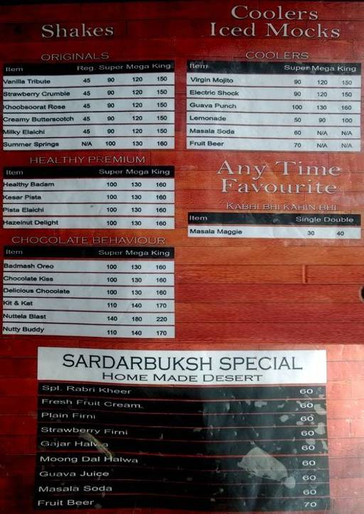 Food Menu 1 Of Sardar Ji Baksh Coffee Co Rajouri Garden