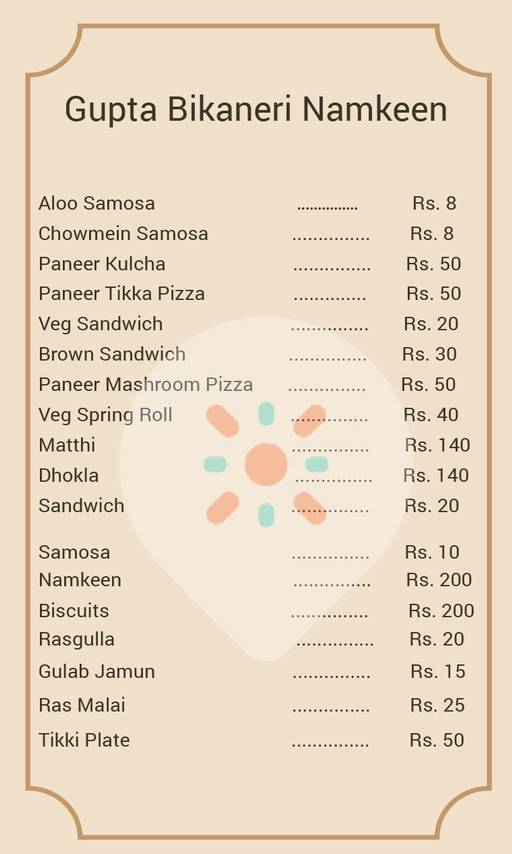 Food Menu 1 Of Gupta Bikaneri Namkeen Rajouri Garden New Delhi