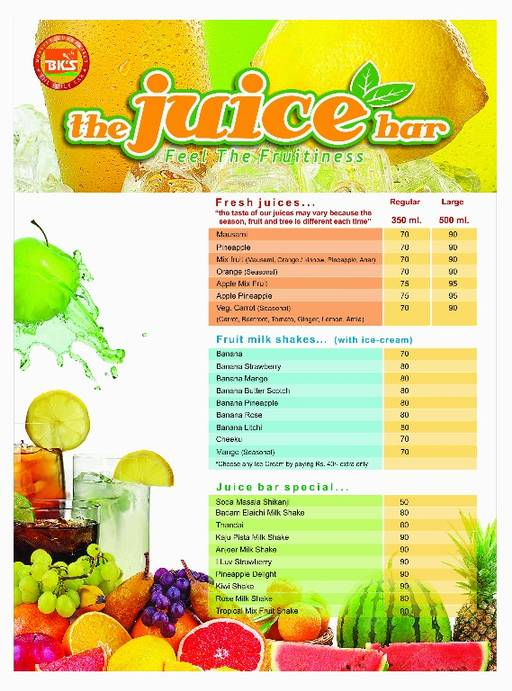 Food Menu 1 of BK's The Juice Bar, Sector 61, Noida