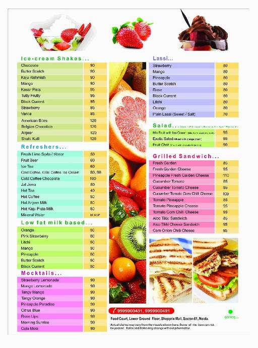 Food Menu 2 - BK's The Juice Bar, Sector 61, Noida