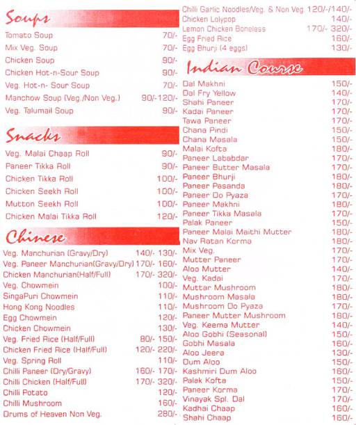 Food Menu 1 of Vinayak, Indirapuram, Ghaziabad
