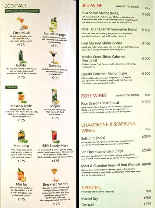 Menu 4 - Barbeque Nation, Connaught Place (CP), New Delhi