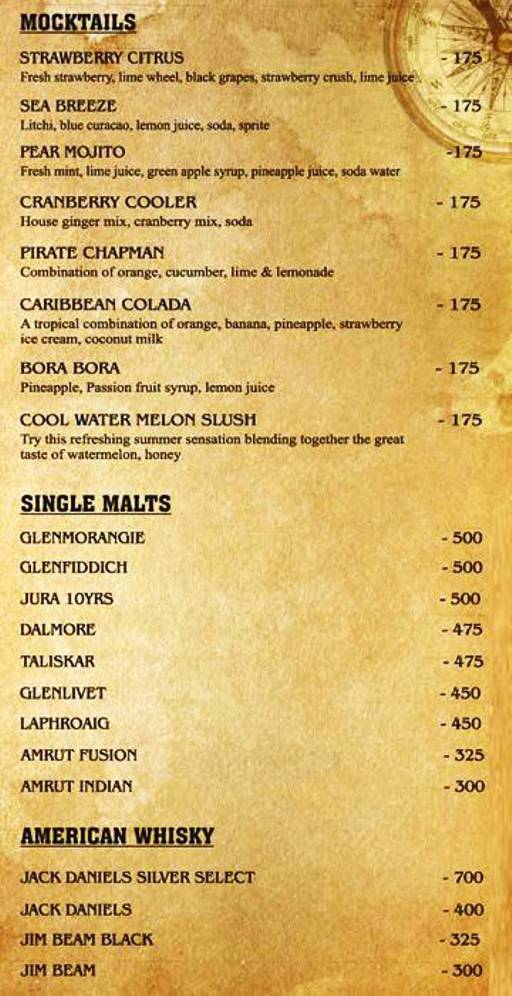 Menu 6 - The Black Pearl, Koramangala, Bangalore