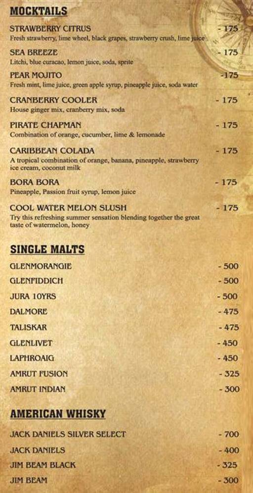 Menu 16 - The Black Pearl, Koramangala, Bangalore