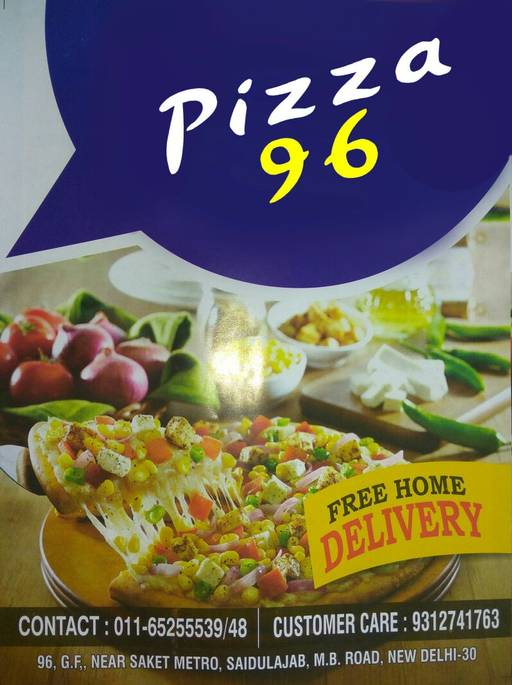 Menu 2 - Pizza 96, Saket, New Delhi