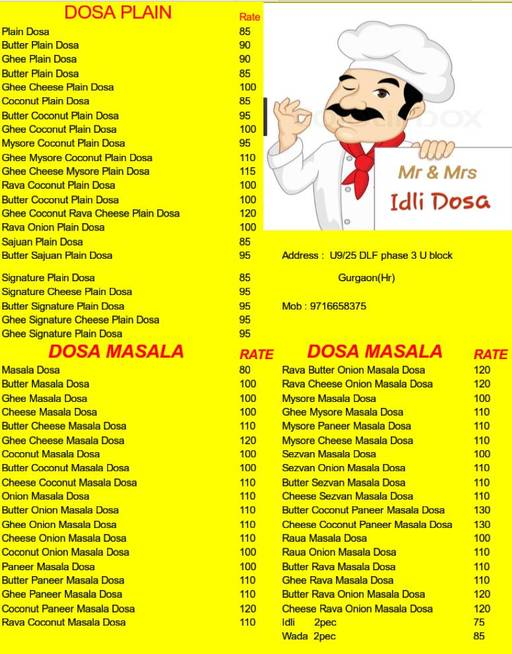 Menu 1 - Mr & Mrs Idly Dosa, DLF Phase 3, Gurgaon