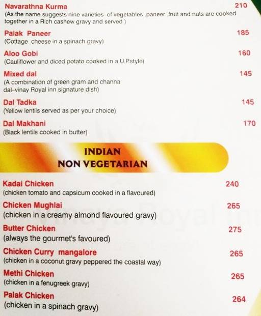 Menu 5 - Vinaya Royal Inn, Electronic City, Bangalore