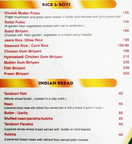 Menu 7 - Vinaya Royal Inn, Electronic City, Bangalore