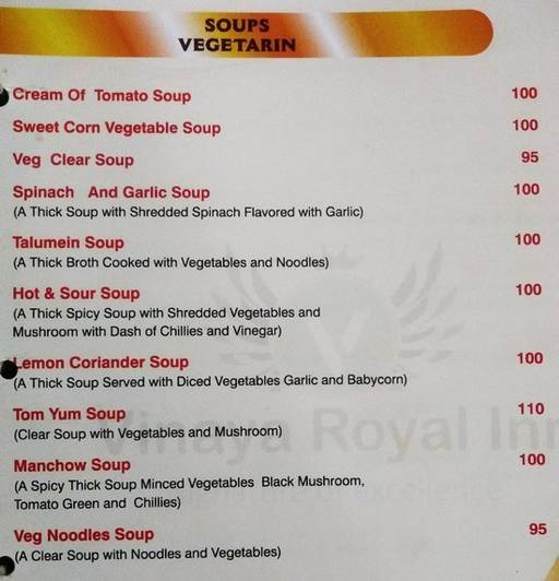 Menu 12 - Vinaya Royal Inn, Electronic City, Bangalore