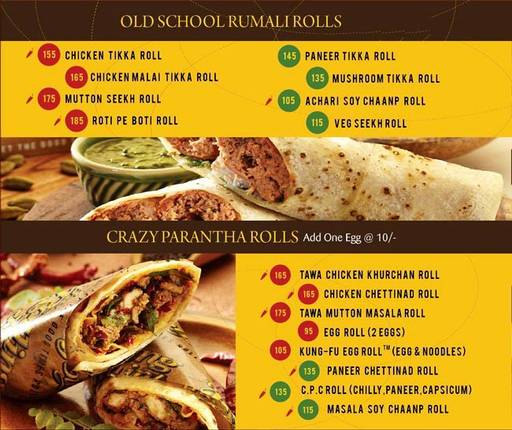 Menu 1 - The Rolling Joint, Connaught Place (CP), New Delhi