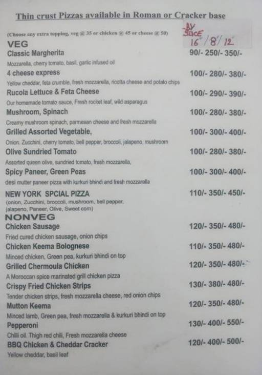 Menu 3 - New York Pie-zzeria, Sector 29, Gurgaon
