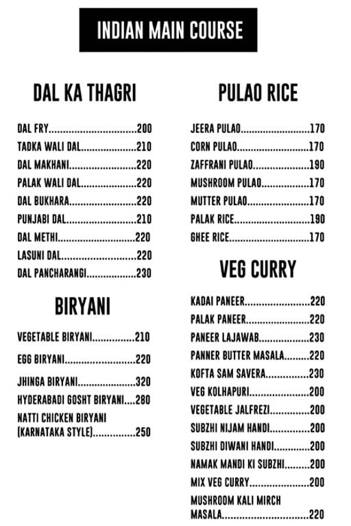 Menu 18 - The Reservoire, Koramangala, Bangalore