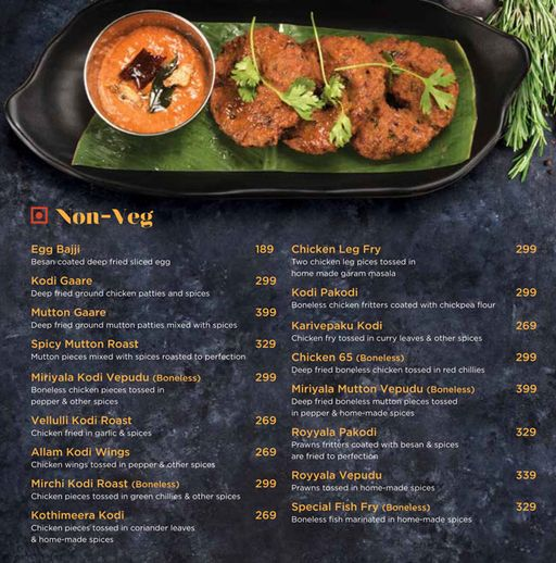 Menu of Kodi Kura Chitti Gaare ,Hitech City, Hyderabad