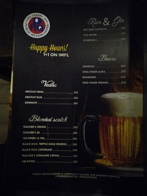 Food Menu 1 of Public Headquarter, Saket, New Delhi