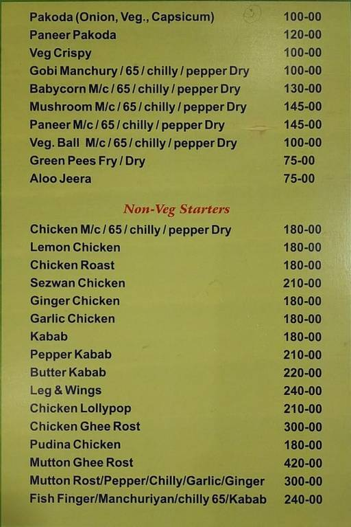 Menu 2 - Skyline Family Restaurant, Shanti Nagar, Bangalore