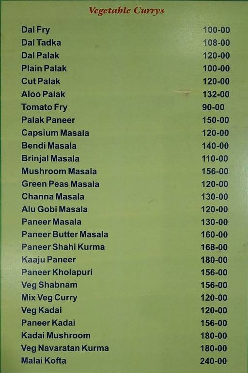 Menu 4 - Skyline Family Restaurant, Shanti Nagar, Bangalore