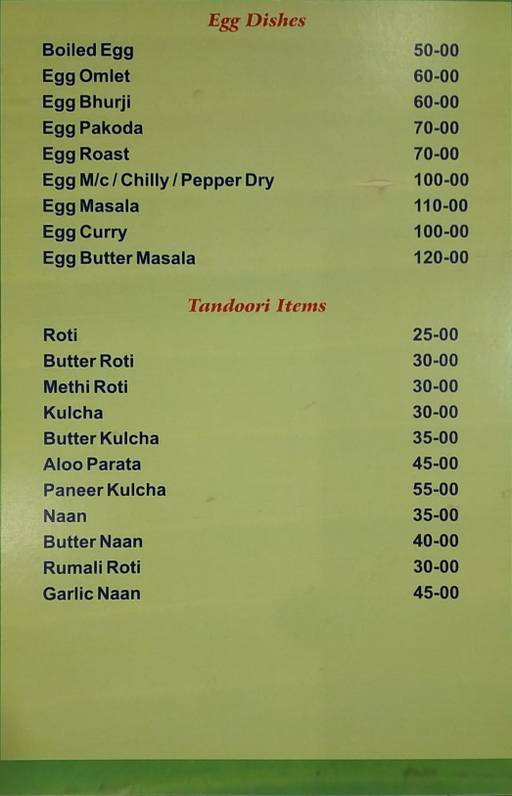 Food Menu 6 of Skyline Family Restaurant, Shanti Nagar, Bangalore