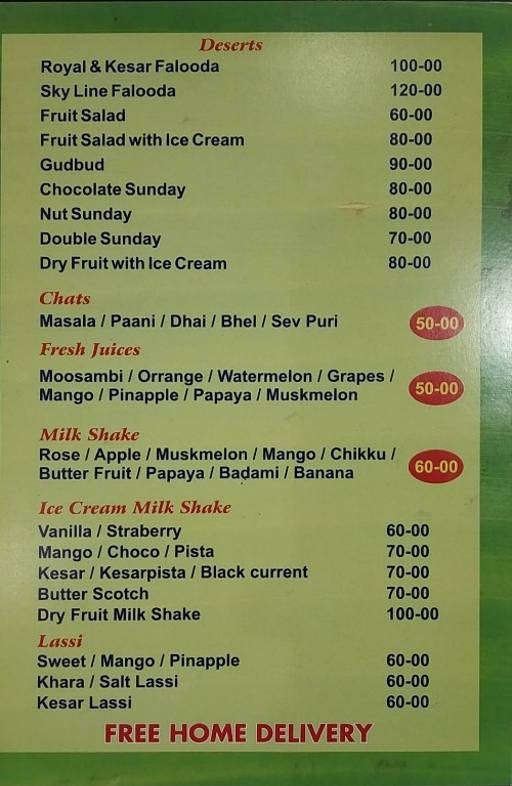 Menu 9 - Skyline Family Restaurant, Shanti Nagar, Bangalore