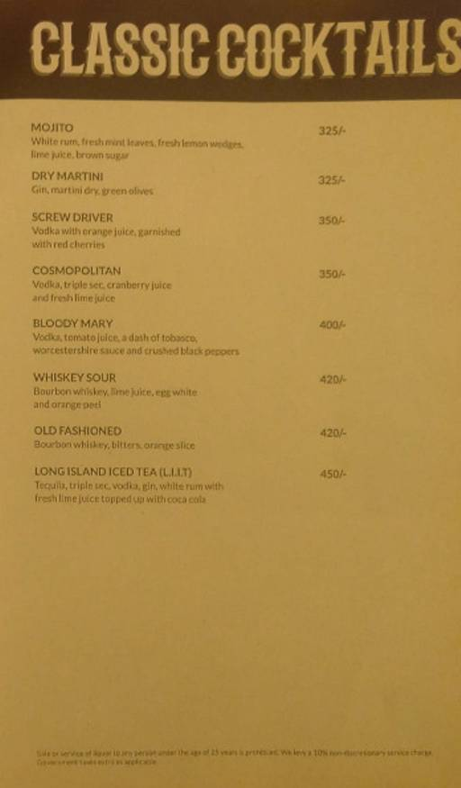 Menu 3 - Rodeo Cantina & Kitchen, Connaught Place (CP), New Delhi
