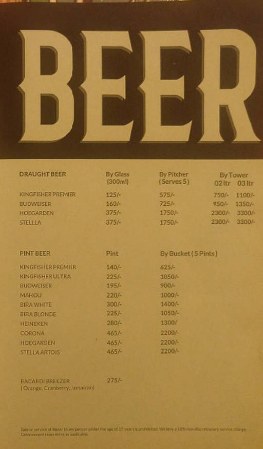 Menu 5 - Rodeo Cantina & Kitchen, Connaught Place (CP), New Delhi