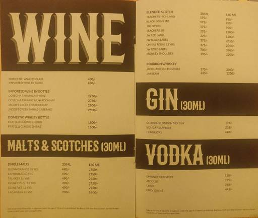Menu 7 - Rodeo Cantina & Kitchen, Connaught Place (CP), New Delhi