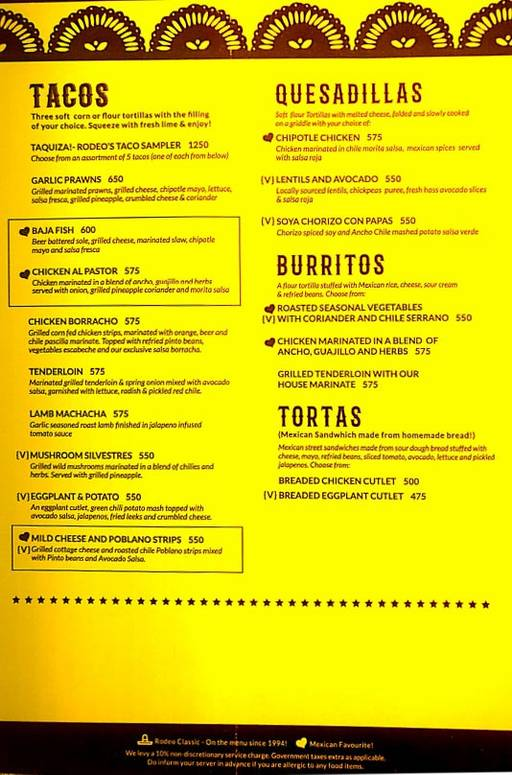 Menu 11 - Rodeo Cantina & Kitchen, Connaught Place (CP), New Delhi