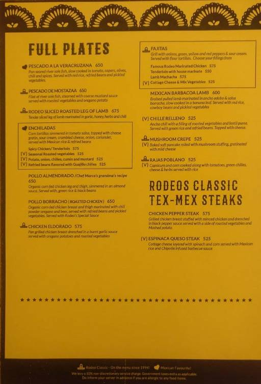 Menu 12 - Rodeo Cantina & Kitchen, Connaught Place (CP), New Delhi