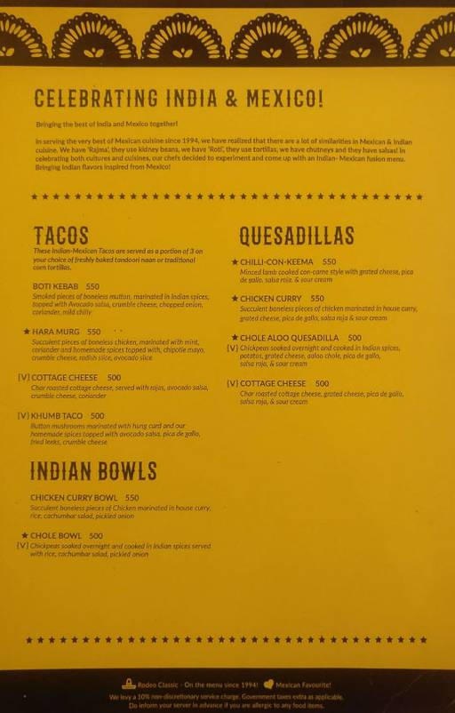 Menu 13 - Rodeo Cantina & Kitchen, Connaught Place (CP), New Delhi