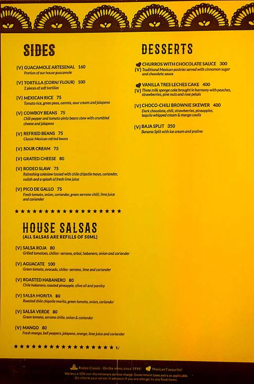 Menu 14 - Rodeo Cantina & Kitchen, Connaught Place (CP), New Delhi