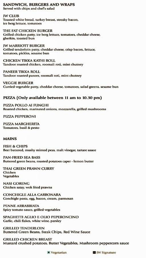 Menu 4 - JW Kitchen - JW Marriott Bengaluru, Lavelle Road, Bangalore