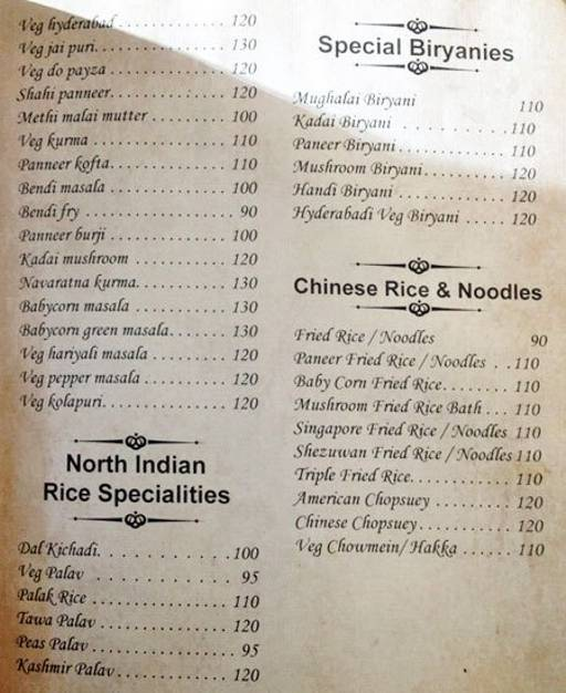 Food Menu 4 of Hotel Chandrika, Vasanth Nagar, Bangalore