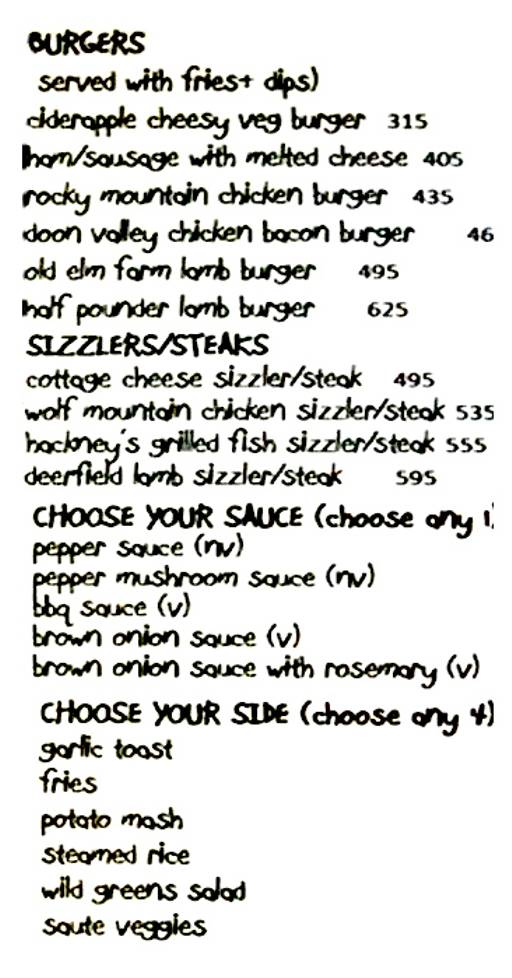 Food Menu 2 of Sakley's The Mountain Cafe, DLF Phase 4, Gurgaon