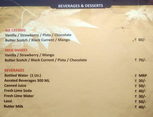 Menu 3 - The Nesara, Jalahalli, Bangalore