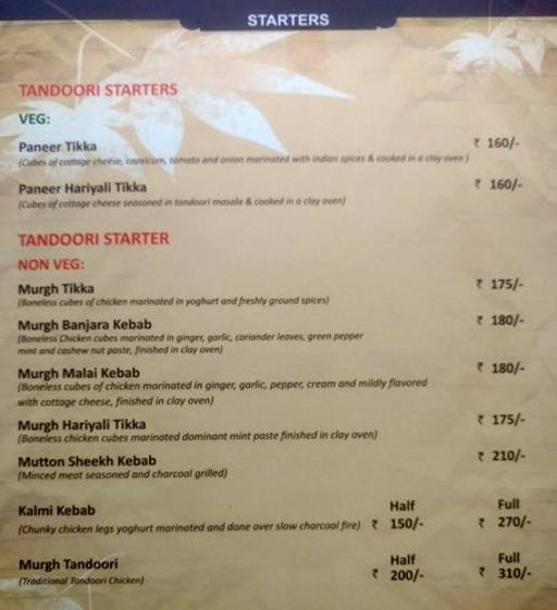 Menu 7 - The Nesara, Jalahalli, Bangalore