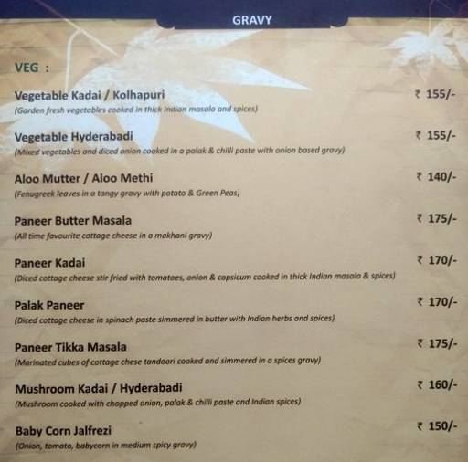 Menu 8 - The Nesara, Jalahalli, Bangalore
