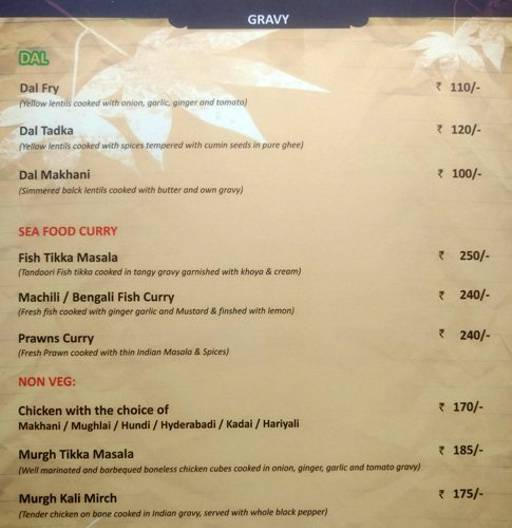 Menu 9 - The Nesara, Jalahalli, Bangalore