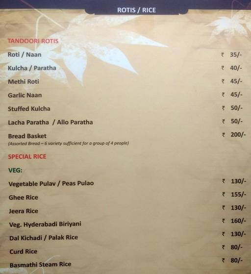 Menu 11 - The Nesara, Jalahalli, Bangalore