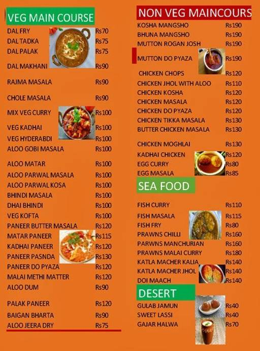 Food Menu 2 of Kolkata Restaurant, Jayanagar, Bangalore