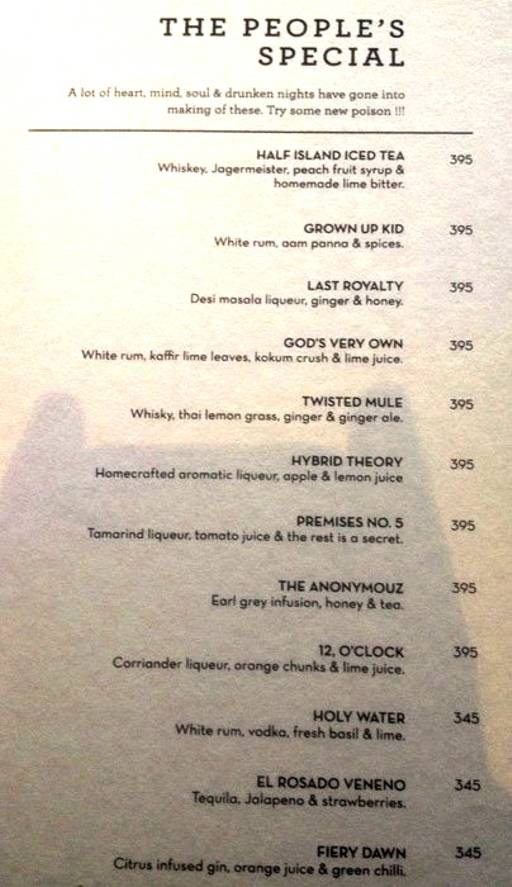 Menu 16 - The People & Co., DLF Cyber City, Gurgaon
