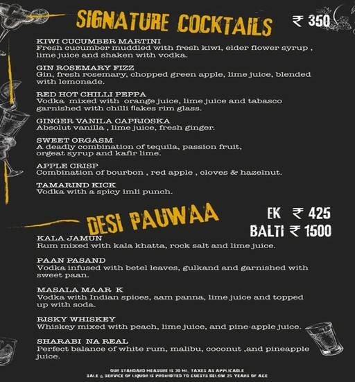 Menu 1 - Smoke On Water, Connaught Place (CP), New Delhi