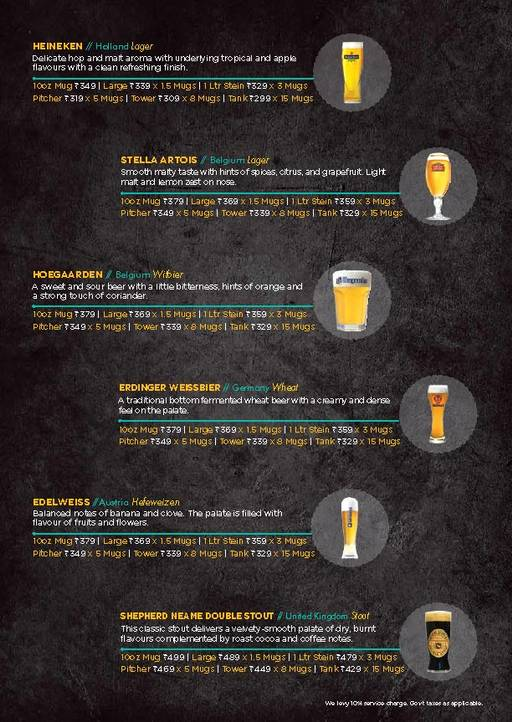 Menu of The Beer Cafe ,Rohini, New Delhi - magicpin